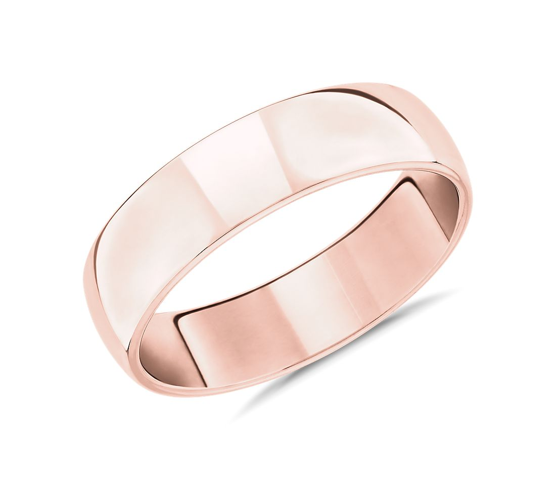 Skyline Comfort Fit Wedding Ring in 14k Rose Gold (6mm)