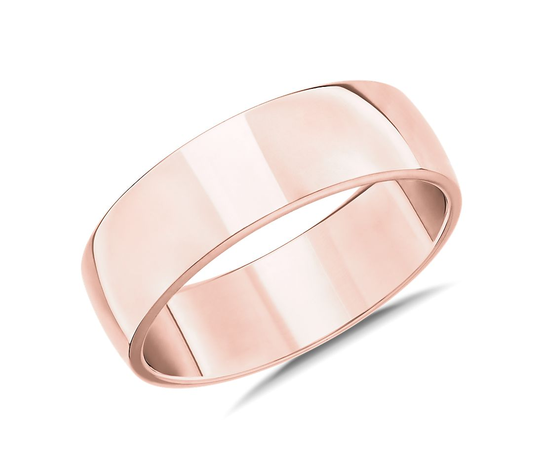 Skyline Comfort Fit Wedding Ring in 14k Rose Gold (7mm)