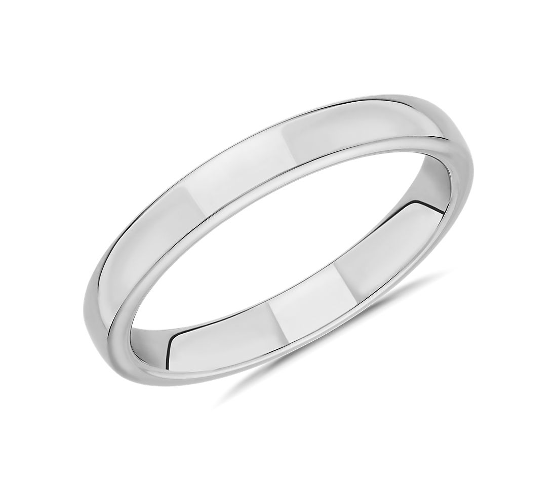 Skyline Comfort Fit Wedding Ring in 14k White Gold (3mm)