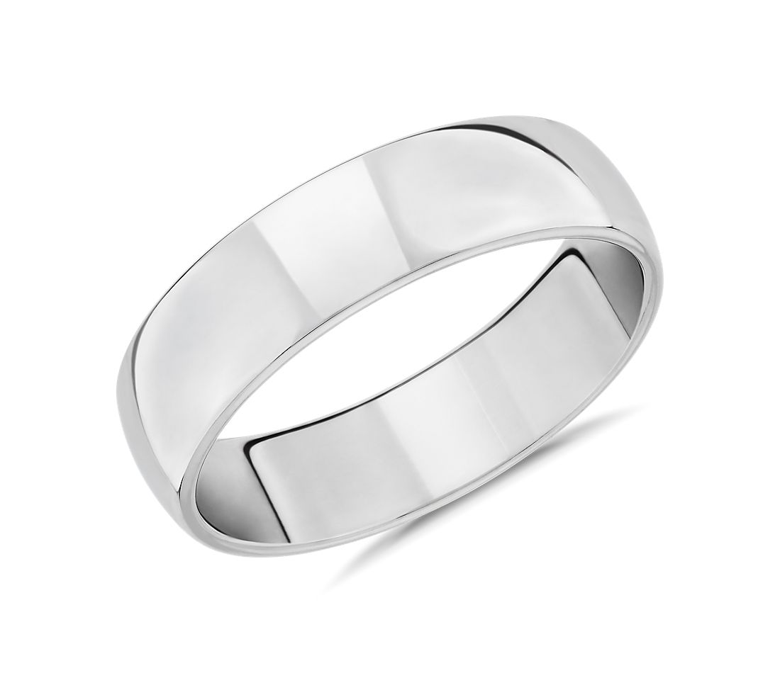 Skyline Comfort Fit Wedding Ring in 14k White Gold (6mm)