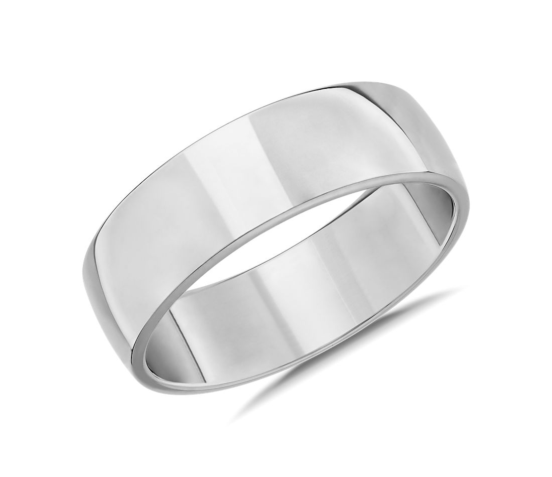 Skyline Comfort Fit Wedding Ring in 14k White Gold (7mm)