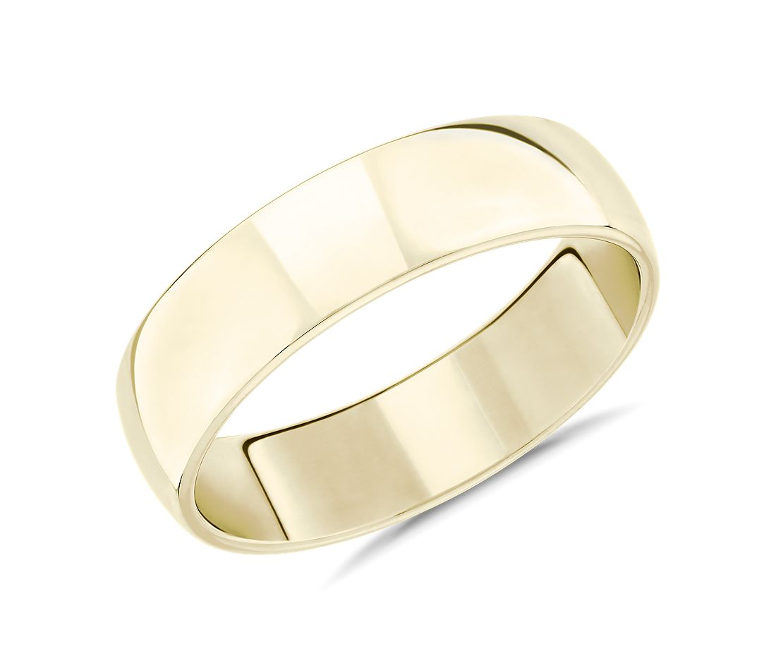 Skyline Comfort Fit Wedding Ring in 14k Yellow Gold (6mm)