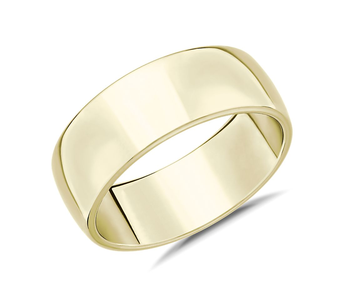 Skyline Comfort Fit Wedding Ring in 14k Yellow Gold (8mm)