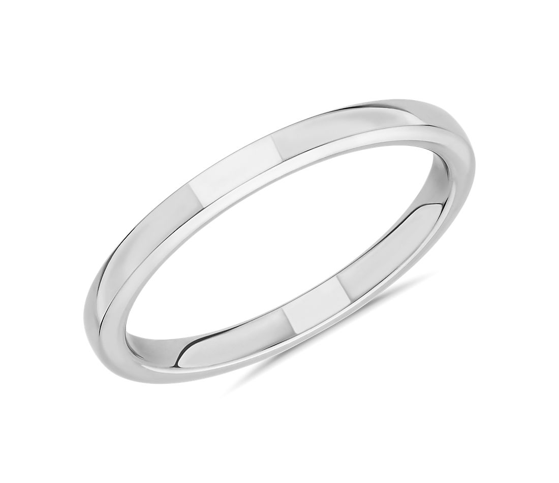 Skyline Comfort Fit Wedding Ring in 18k White Gold (2mm)