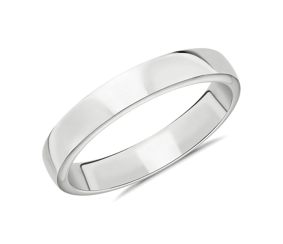 Skyline Comfort Fit Wedding Ring in 18k White Gold (4mm)