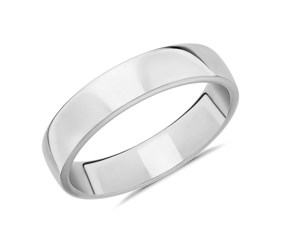 Skyline Comfort Fit Wedding Ring in 18k White Gold (5mm)