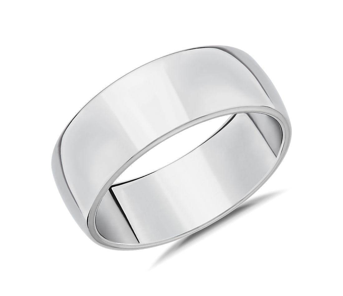 Skyline Comfort Fit Wedding Ring in 18k White Gold (8mm)