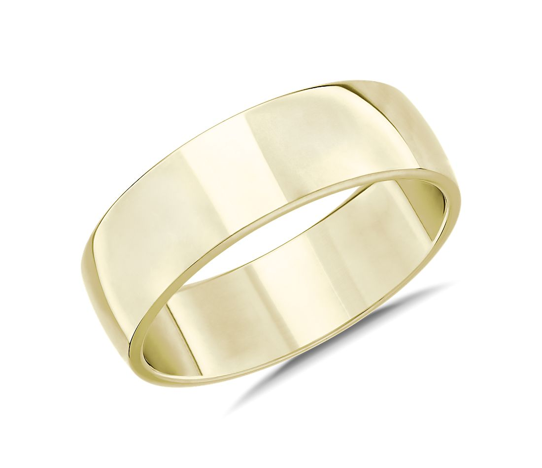 Skyline Comfort Fit Wedding Ring in 18k Yellow Gold (7mm)