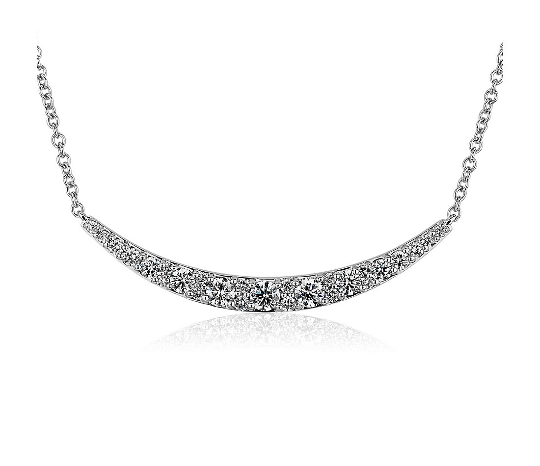Sleek Diamond Bar Necklace in 14k White Gold (0.95 ct. tw.)