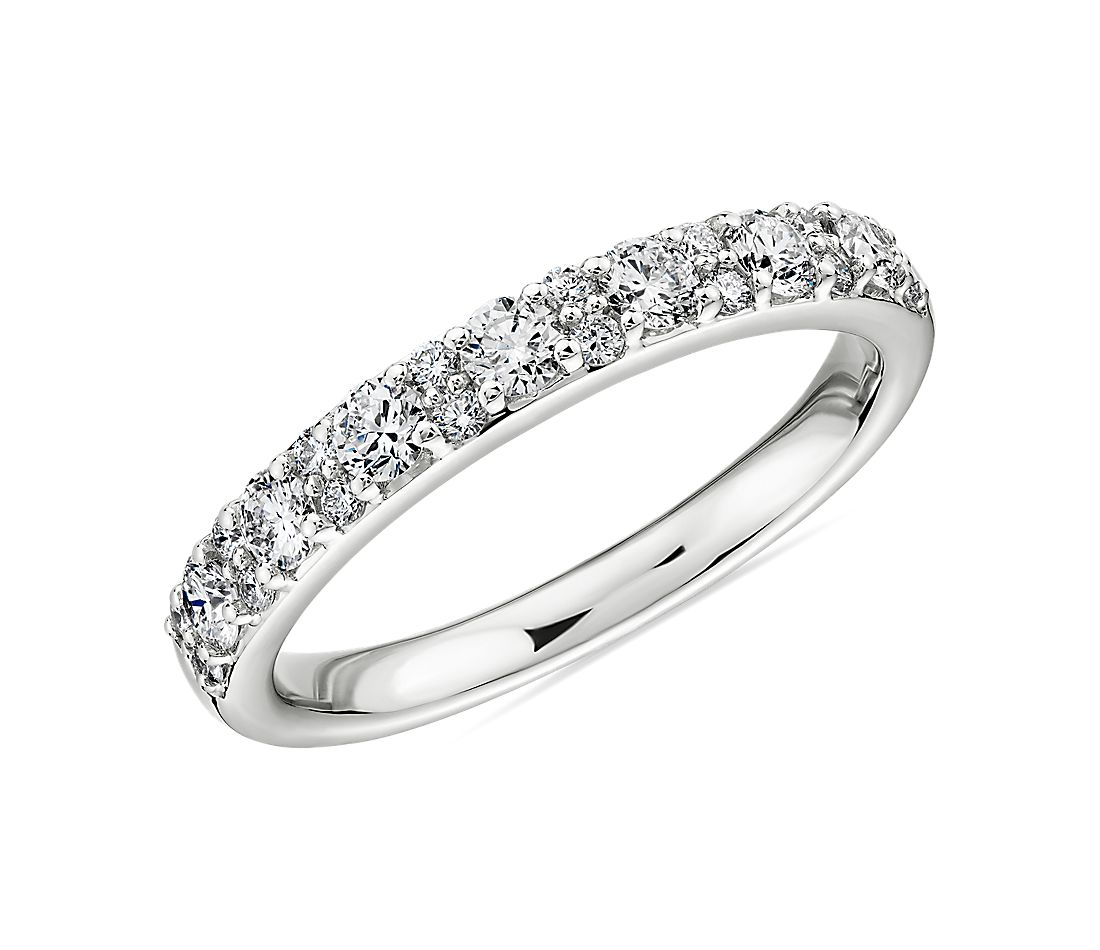 Sleek Diamond Dome Wedding Ring in 18k White Gold- H/VS2 (1/2 ct. tw.)
