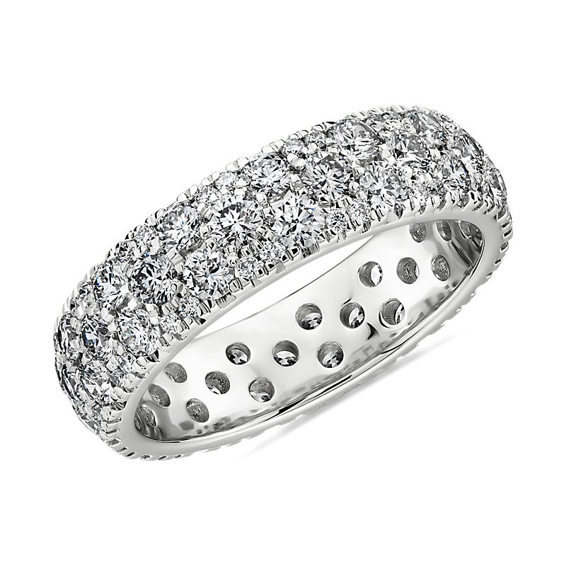 Sleek Diamond Dome Eternity Ring in 18k White Gold- H/VS2 (2 ct.