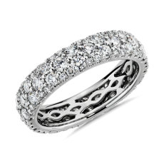NEW Sleek Diamond Dome Eternity Ring in 18k White Gold - H/VS2  (2 ct. tw.)
