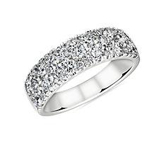 新款 18k 白金纤巧钻石圆拱结婚戒指- H/VS2 (1 1/2 克拉总重量)