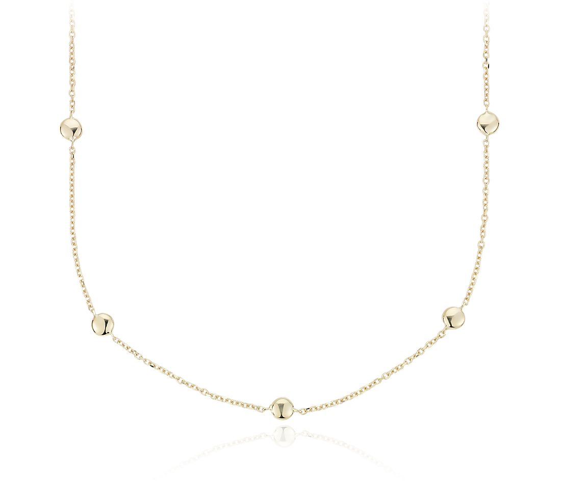 Small Bead Station Necklace in 14k Yellow Gold