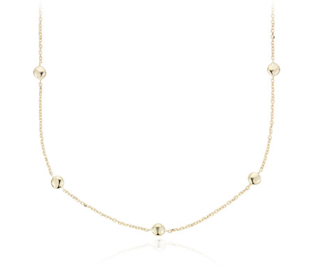 Small Bead Station Necklace in 14k Italian Yellow Gold