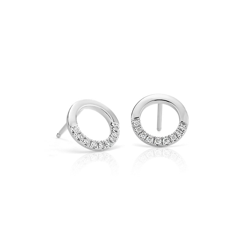 Small Diamond Open Circle Earrings in 14k White Gold (1/10 ct. tw
