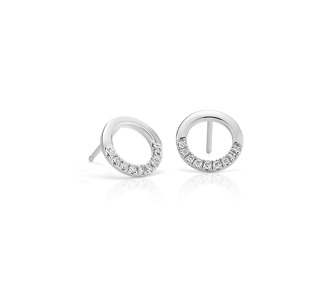 Small Diamond Open Circle Earrings in 14k White Gold