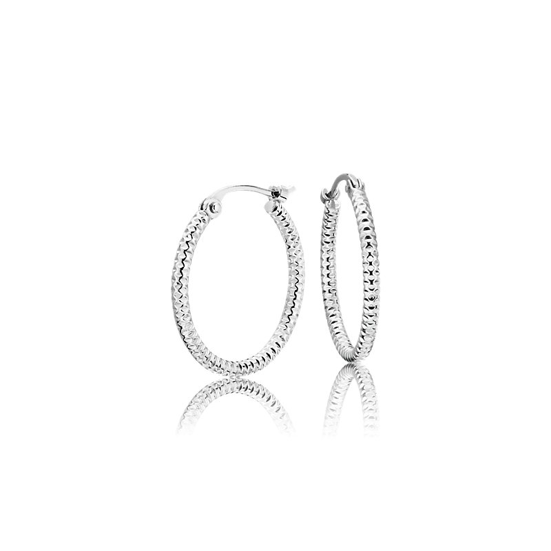 "Small Shimmer Cut Hoop Earrings in Platinum (5/8"")"