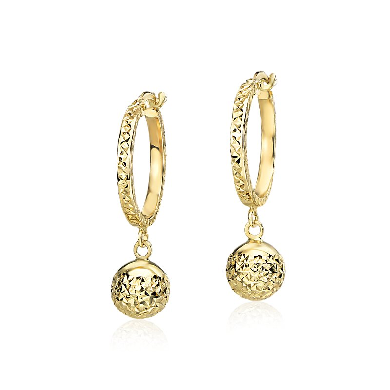 Small Textured Hoop Earrings with Bead Drop in 14k Yellow Gold (5