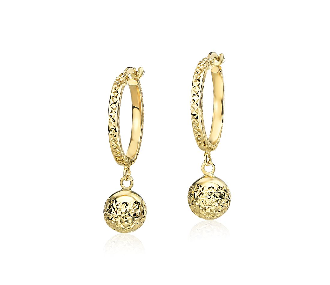 Small Textured Hoop Earrings With Bead Drop In 14k Yellow Gold 5 8