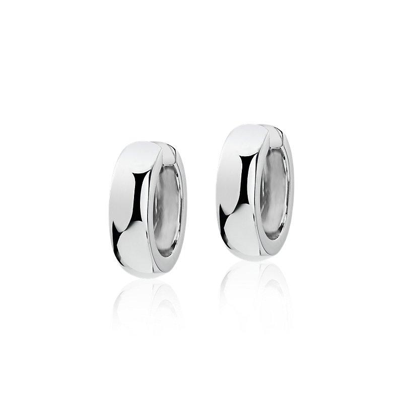 """Small Wide Hoop Earrings in 14k White Gold (11/16"""")"""
