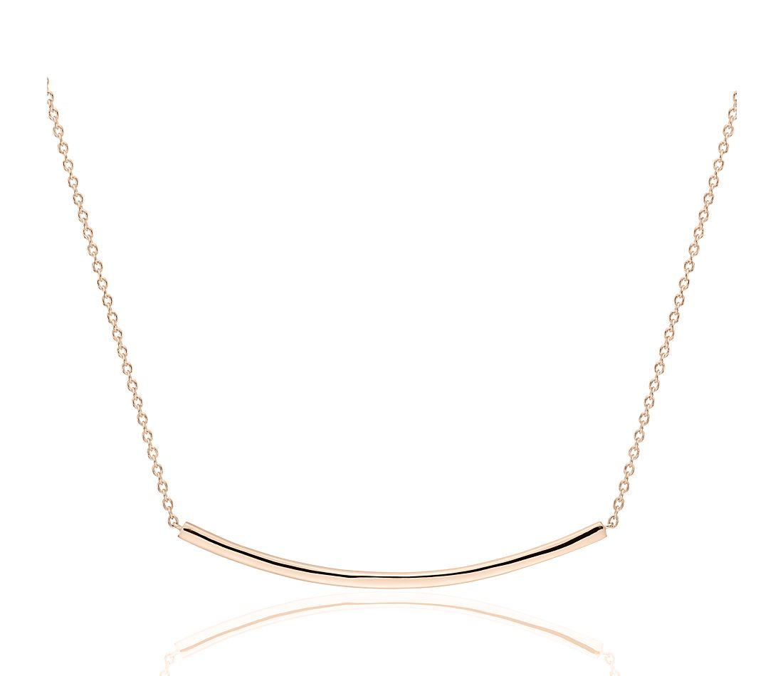 Smile Bar Necklace in 14k Rose Gold
