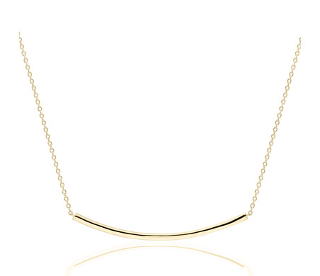 Smile Bar Necklace in 14k Yellow Gold