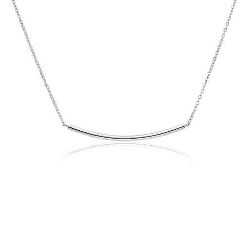 Blue Nile Curved Smile Bar Necklace in Sterling Silver fmQZqw4