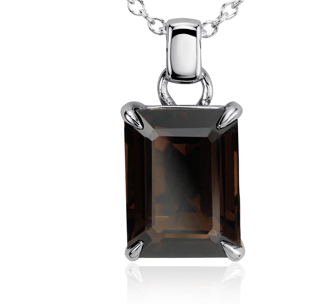 Pendentif rectangulaire en quartz fumé en argent sterling