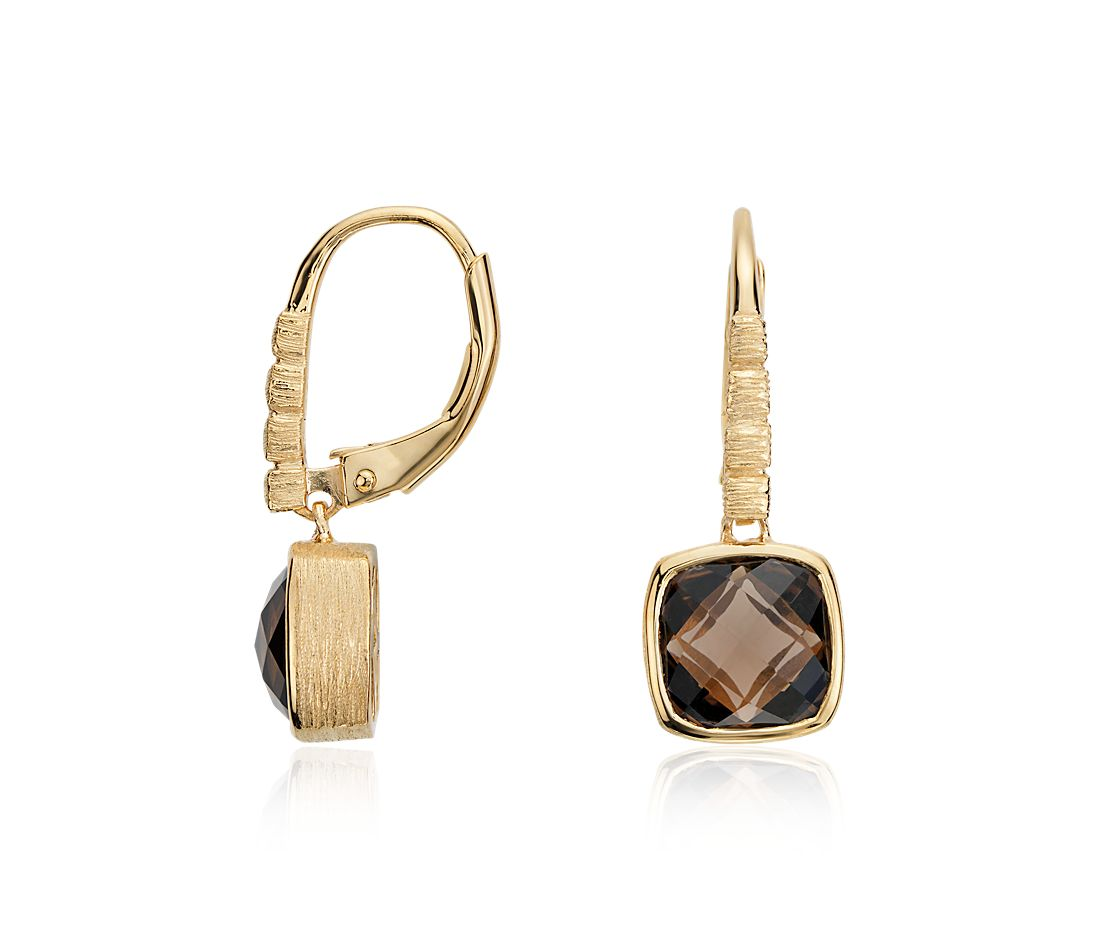 Smoky Quartz Cushion Cut Earrings in Gold Vermeil