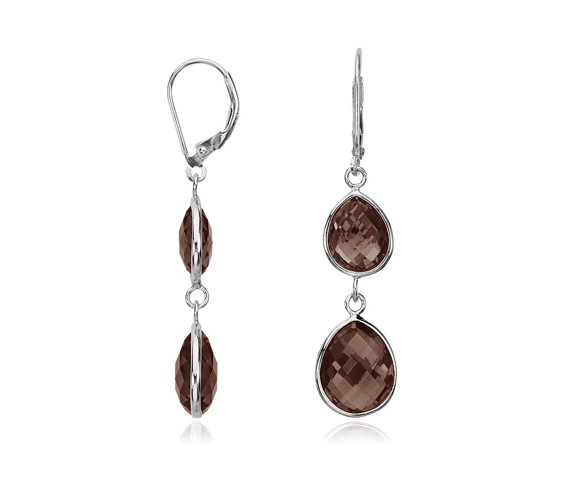 Smoky Quartz Drop Earrings in Sterling Silver