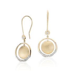 Angela George Soleil Circle Drop Earrings with Diamond Detail in 18k Yellow Gold