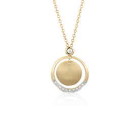 Angela George Soleil Circle Drop Pendant with Diamond Detail in 18k Yellow Gold