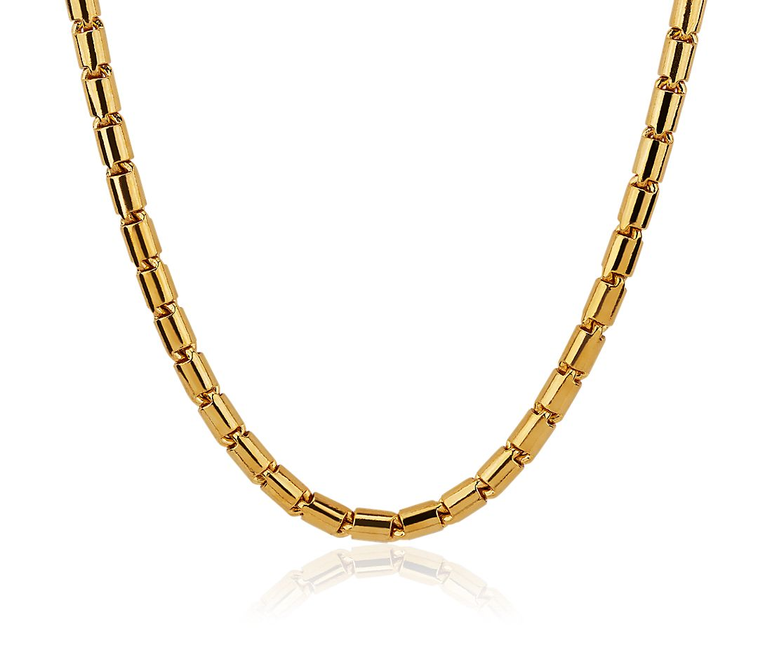 Solid 24k Yellow Gold Handmade Baht Link Necklace