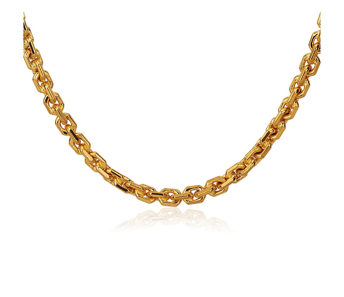 Solid 24k Yellow Gold Handmade Flat Oval Link Necklace