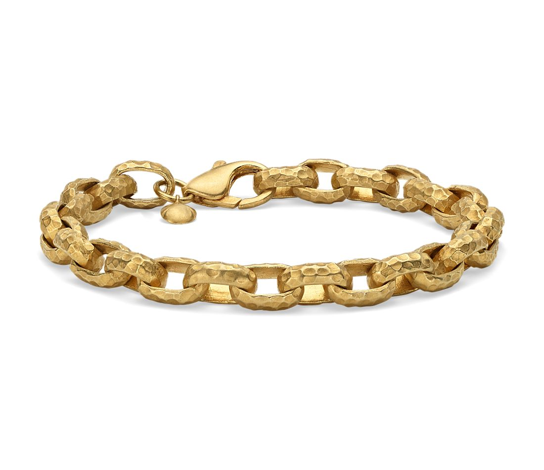 Solid Hammered Link Bracelet in 18k Yellow Gold