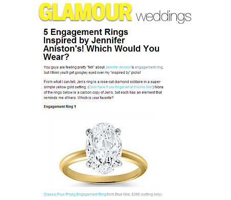 Classic Four Prong Engagement Ring in 18k Yellow Gold featured in Glamour.com