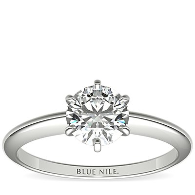 Classic Six-Claw Solitaire Engagement Ring in 14k White Gold