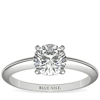 Classic Four-Claw Solitaire Engagement Ring in 14k White Gold