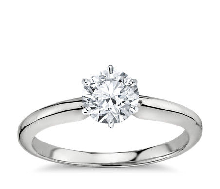 Classic Six-Prong Solitaire Engagement Ring in 14k White Gold