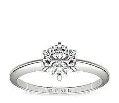 14k 白金经典六爪单石订婚戒指