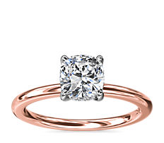 NEW Solitaire Plus Hidden Halo Diamond Engagement Ring in 14k Rose Gold and Platinum