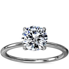 NEW Solitaire Plus Hidden Halo Diamond Engagement Ring in 14k White Gold and Platinum