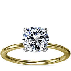NEW Solitaire Plus Hidden Halo Diamond Engagement Ring in 14k Yellow Gold and Platinum