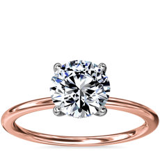 NEW Solitaire Plus Hidden Halo Diamond Engagement Ring in 18k Rose Gold and Platinum