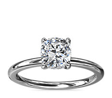 NEW Solitaire Plus Hidden Halo Diamond Engagement Ring in 18k White Gold and Platinum