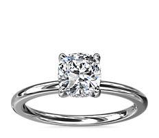 新款 18k 白金及铂金 单石加隐藏式光环钻石订婚戒指