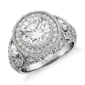 Bella Vaughan for Blue Nile Sorrento Bezel Diamond Filigree Engagement Ring in Platinum (3.45 ct. tw.)