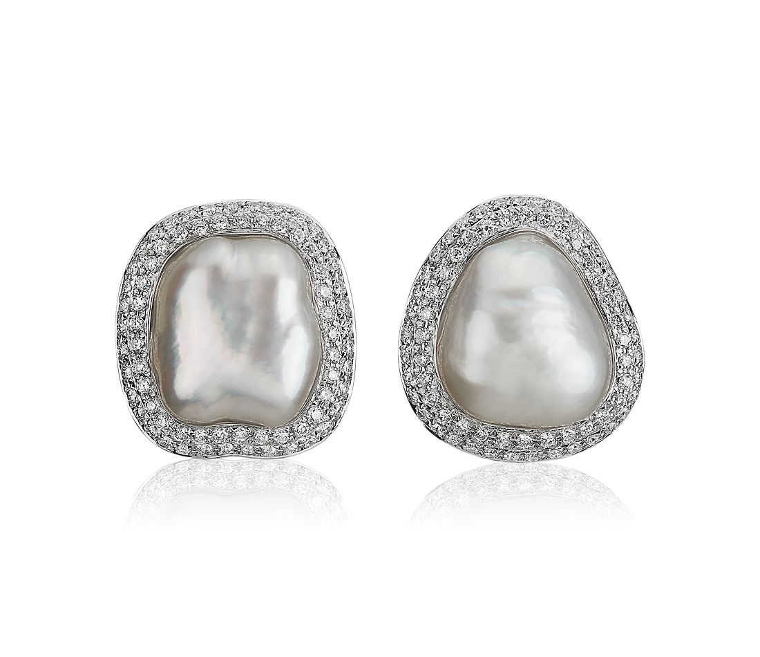 South Sea Baroque Pearl Earrings with Diamond Halo in 18k White Gold