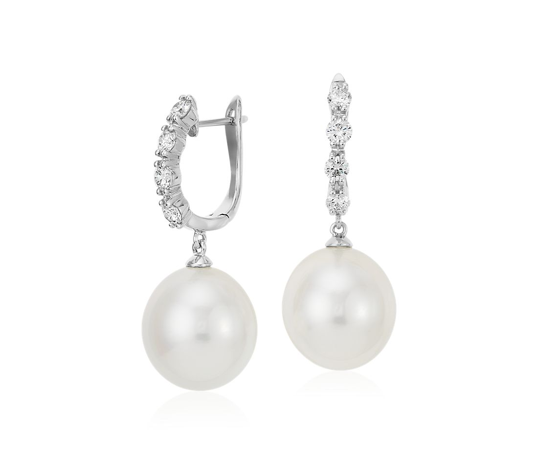South Sea Cultured Pearl and Diamond Drop Earrings in 18k White Gold (13mm)